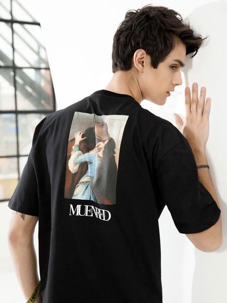 莎斯莱思男装品牌2019春夏新款字母人像印花短袖圆领T恤韩版宽松上衣