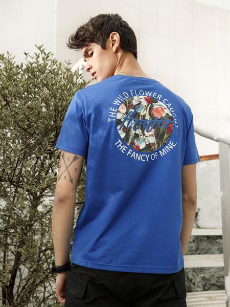 莎斯莱思男装品牌2019春夏刺绣短袖圆领T恤韩版潮流卡通半袖T恤