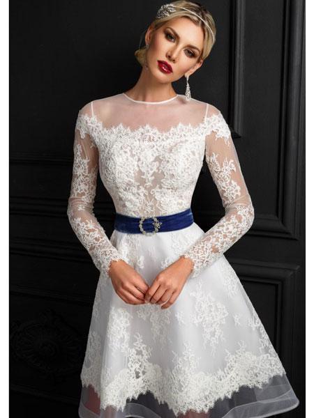 BIEN SAVVY婚纱/礼服品牌2019春夏新款一字肩香槟色结婚姐妹团礼服