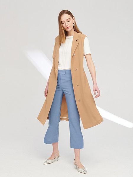 SCOFIELD女装品牌2019春夏新款西装领收腰绑带纯色长款马甲外套