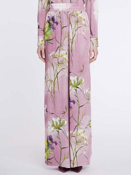 Anna Molinari安娜·莫里那瑞女装品牌2019春夏新款时尚宽松印花阔腿裤