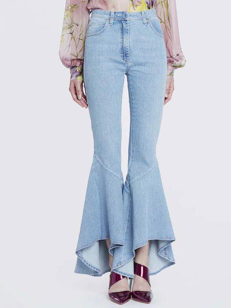 Anna Molinari安娜·莫里那瑞女装品牌2019春夏新款超美喇叭毛边裤腿九分牛仔裤