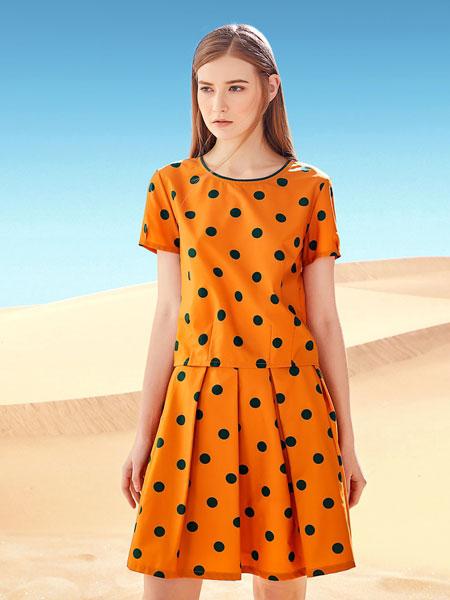 娇雪芳菲女装品牌2019春夏新款宽松大码纯棉印花连衣裙短袖圆领中长裙