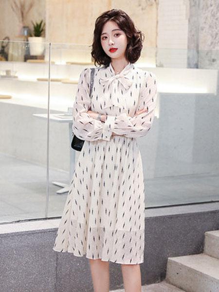 高梵女装品牌2019春夏新款小清新雪纺韩版气质裙子