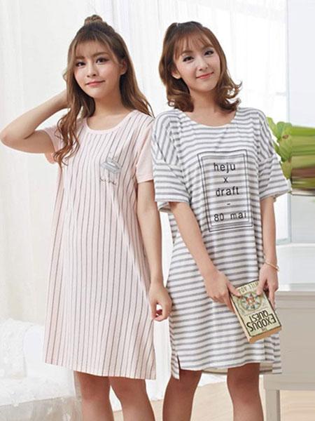 紫色花语内衣品牌2019春夏新款韩版可爱纯棉宽松可外穿睡裙
