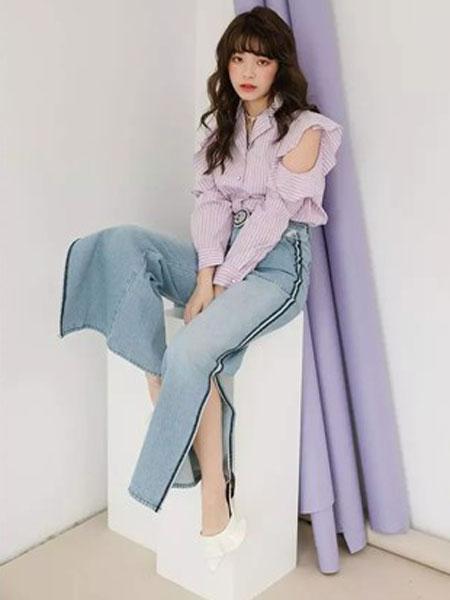 MISSLI女装品牌2019春夏新款坠感牛仔阔腿裤直筒套装女学生领口系带衬衫时尚两件套