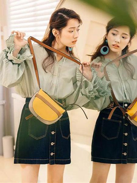 MISSLI女装品牌2019春夏新款半身裙子 韩版高腰直筒单排扣弹力包臀牛仔裙