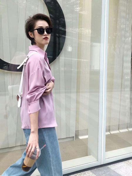 奕色女装品牌2019春夏新款纯色衬衣休闲学生装学院风小清新上衣森女系收腰衬衫