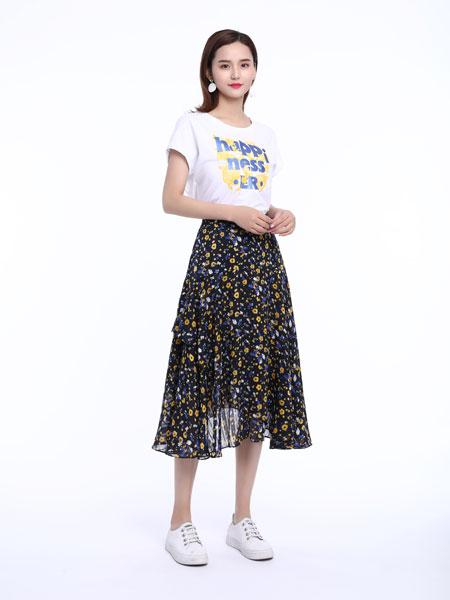 文果怡彩女装品牌2019春夏新款蕾丝拼接印花半裙