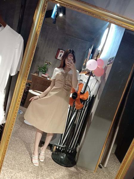 CM女装品牌2019春夏新款假两件收腰A摆裙