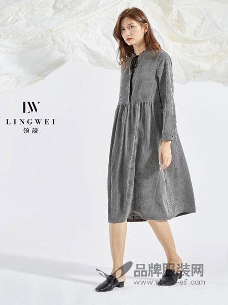 领葳女装品牌2019春季宽松显瘦纯棉长袖a字裙休闲衬衫裙