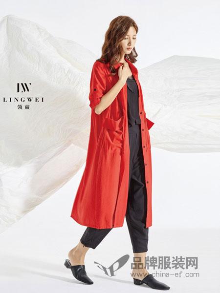 领葳女装品牌2019春季宽松七分袖单层红色风衣中长款