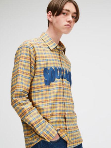 Soulland男装品牌2019春夏新款复古韩版休闲港风宽松拼色格子衬衫