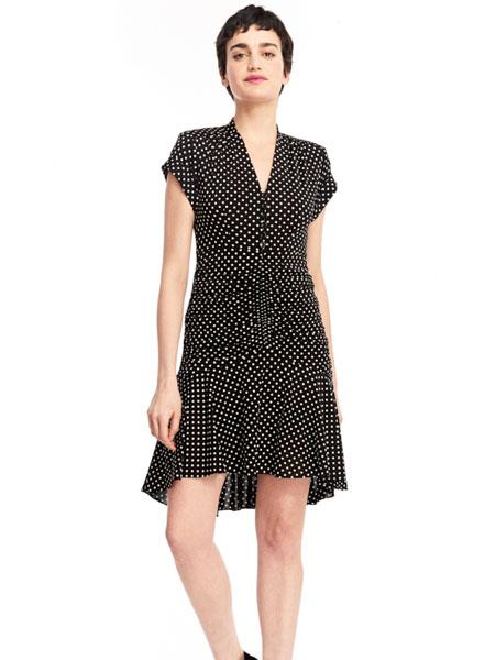 公主娜娜女装品牌2019春夏新款波点印花无袖V领修身显瘦连衣裙