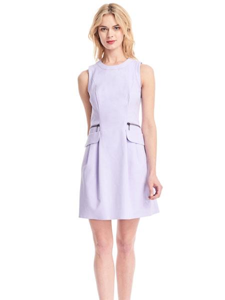 公主娜娜女装品牌2019春夏新款经典显瘦收腰无袖连衣裙