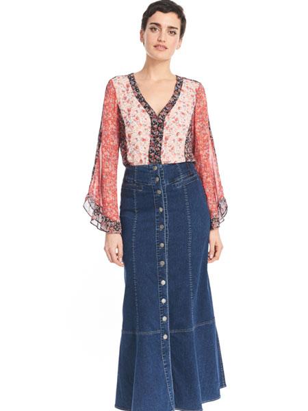 公主娜娜女装品牌2019春夏新款时尚复古系扣A子长牛仔半身裙