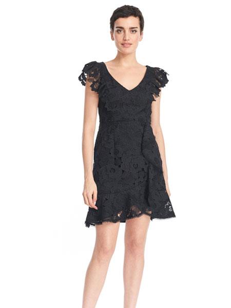 公主娜娜女装品牌2019春夏新款时尚气质V领雪纺修身显瘦短裙子
