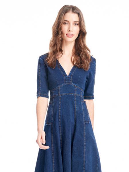 公主娜娜女装品牌2019春夏新款中长款经典收腰显瘦中袖牛仔连衣裙