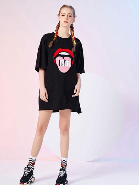 比利休闲品牌新款宽松字母印花短袖T恤裙