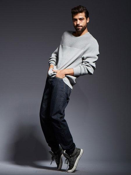 比利休闲品牌新款休闲宽松松紧腰牛仔裤