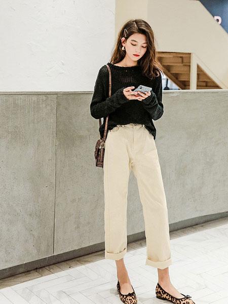 七格格女装品牌2019春夏韩版宽松纯色长袖针织衫