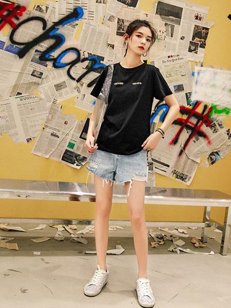 七格格女装品牌2019春夏新款韩版原宿风宽松显瘦短袖上衣