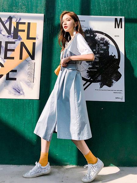七格格女装品牌2019春夏新款潮气质韩版收腰中长款裙