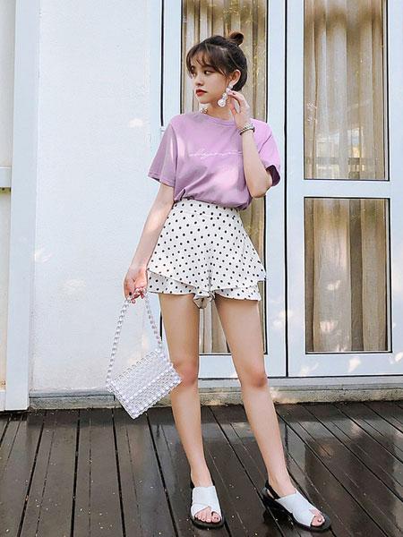 七格格女装品牌2019春夏新款时尚短袖t恤潮宽松上衣