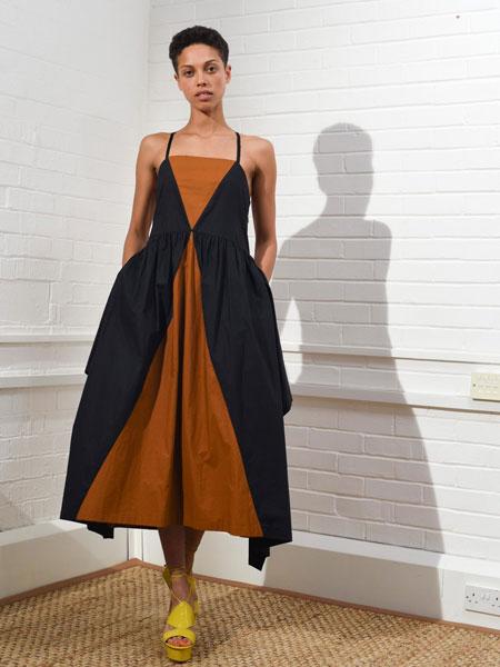ISA ARFEN女装品牌2019春夏新款拼接吊带宽松连衣裙