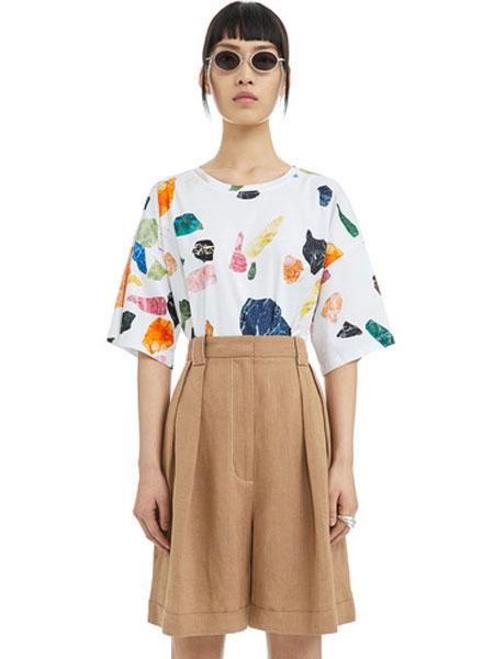 Bimba Y Lola女装品牌2019春夏新款白色宽松印花T恤百搭短袖