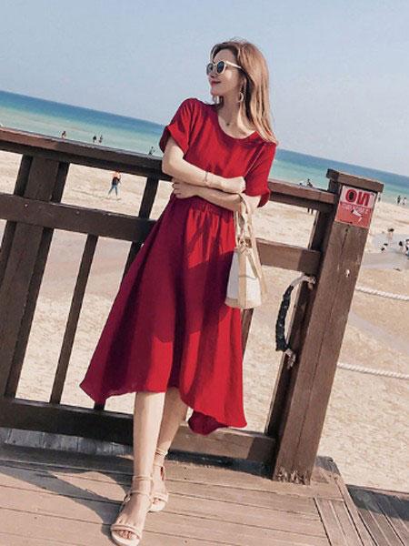 慕街女装品牌2019春夏新款复古修身显瘦连衣裙