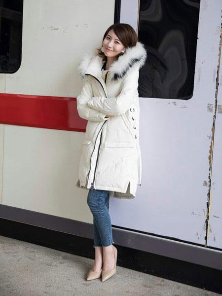 欧裳羽女装品牌新款韩版时尚过膝羽绒服