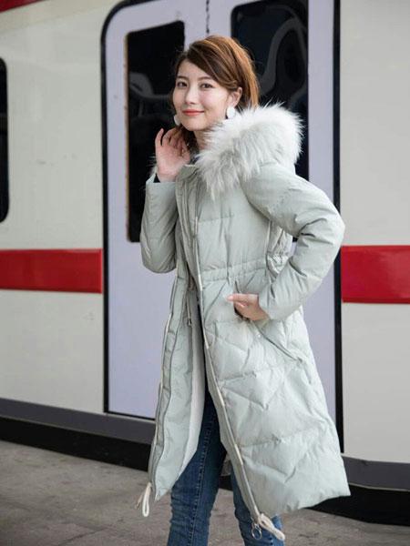 欧裳羽女装品牌新款韩版宽松时尚过膝羽绒服