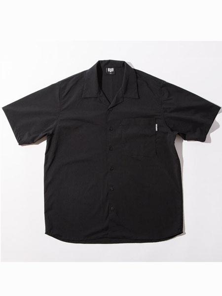 Bounty-Hunter休闲品牌2019春夏新款时尚宽松圆领印花短袖衬衫