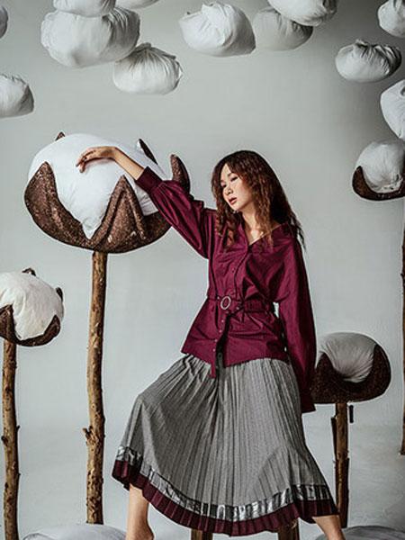 伊可爱女装品牌2019春季新款时尚两件套气质格纹系带半裙套装