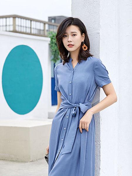 迪思兰柏女装品牌2019春夏韩版中长裙系带收腰v领A字裙潮