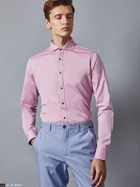 埃沃男装品牌2019春夏新款商务休闲百搭修身长袖衬衫