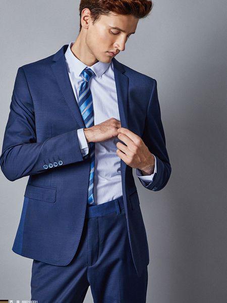 埃沃男装品牌2019春夏新款修身青年蓝色商务休闲正装舒适微弹力西装