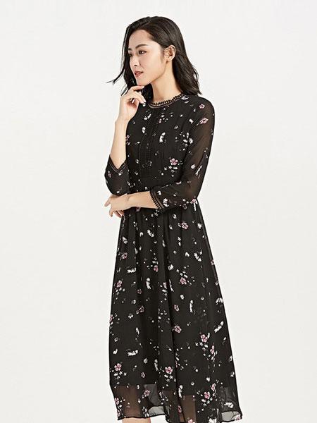 梦燕女装品牌2019春季新款长袖印花显瘦修身连衣裙