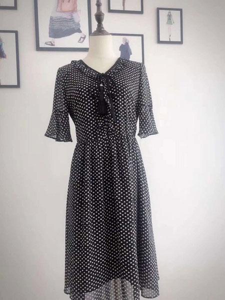 衣品时尚女装品牌2019春夏新款修身显瘦超火的裙子小清新雪纺连衣裙