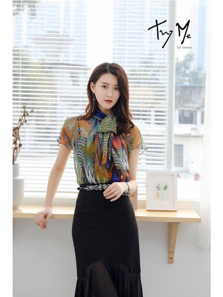 trymebymoon、Try Me女装品牌2019春夏新款印花雪纺衫女短袖洋气时尚显瘦系带