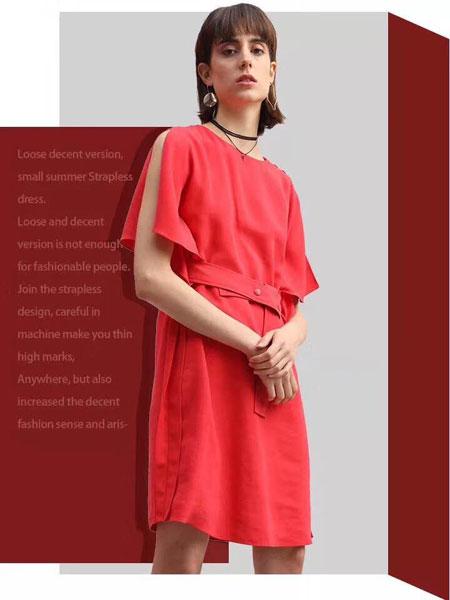 司合伊女装品牌2019春夏新款气质中长款收腰腰带复古风连衣裙女法式洋气裙子