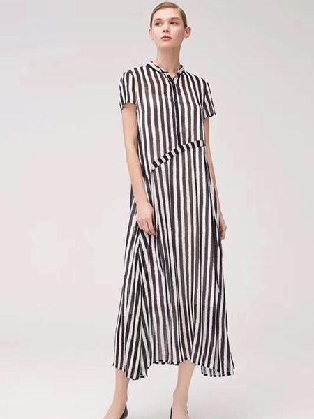 司合伊女�b品牌2019春夏新款�Q�l�y�L裙�n版��s修身中�L款�B衣裙