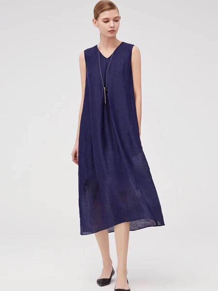 司合伊女�b品牌2019春夏新款中�L款�@瘦百搭�o袖背心雪��B衣裙