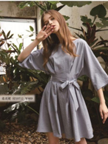 蓝珣Helen Moda女装品牌2019春夏新款名媛气质七分蝙蝠袖收腰连衣裙