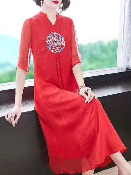 芝麻E柜女装品牌2019春夏新款立领刺绣中国风改良旗袍裙