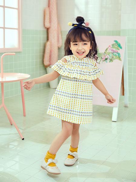 陌小祥童装品牌2019春夏新款黄色连衣裙女童波点洋气裙