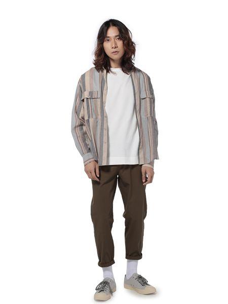 第二印象男装品牌2019春夏复古咖啡色条纹衬衣百搭宽松口袋休闲长袖衬衫