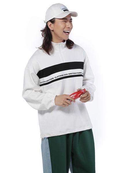 第二印象男装品牌2019春夏新款白色字母印花圆领卫衣