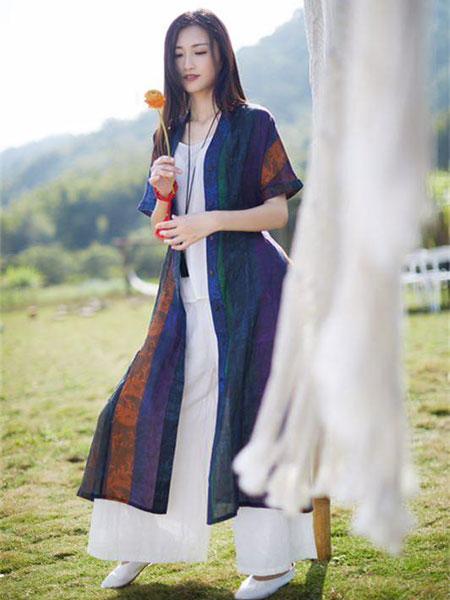 伊荷佳人女装品牌2019春夏新款文艺宽松复古中长款连衣裙